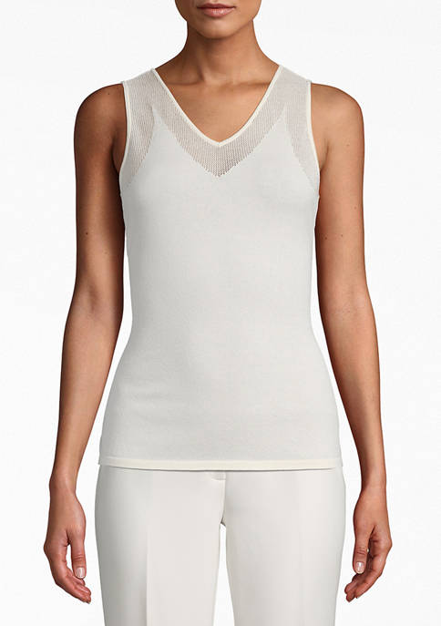 Womens V-Neck Sweater Tank with Mesh Trim