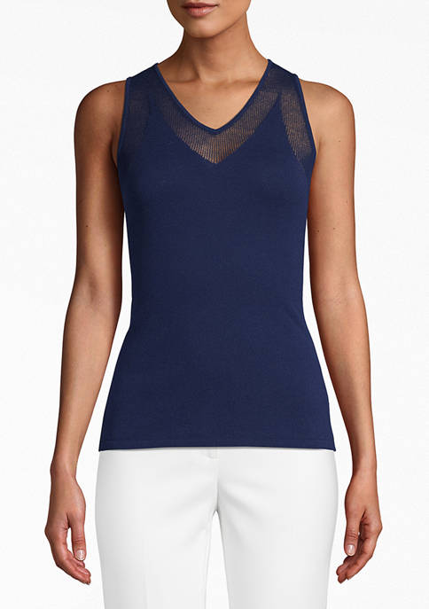Anne Klein Womens V-Neck Sweater Tank with Mesh