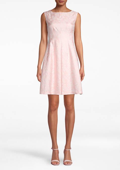 Anne Klein Womens Jacquard Fit & Flare Dresss