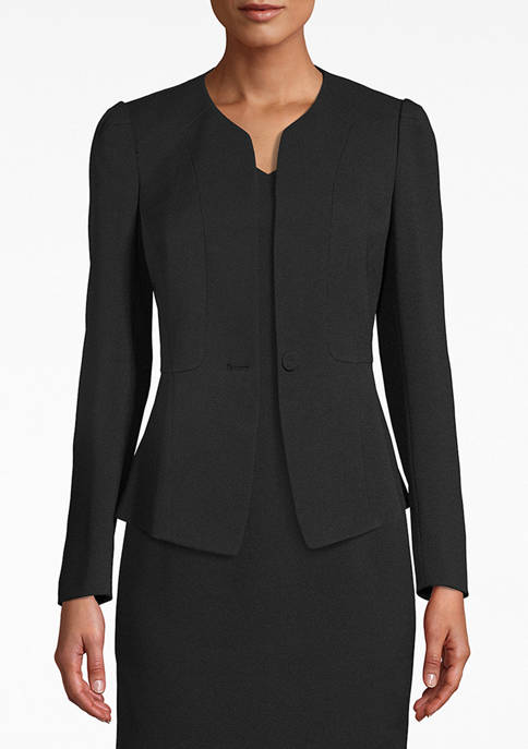 Anne Klein Womens Collarless Peplum Jacket