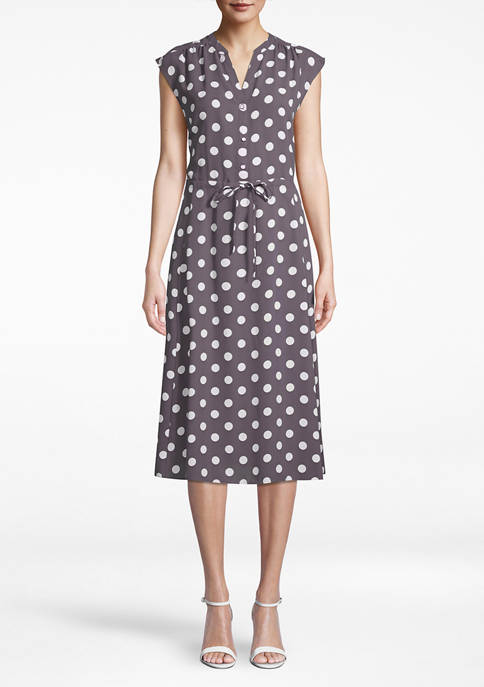 Womens Cap Sleeve Drawstring Midi Dress