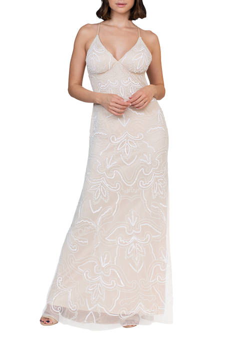 Jump Womens Strappy Beaded Gown