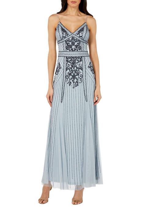 Womens Slim Beaded Gown