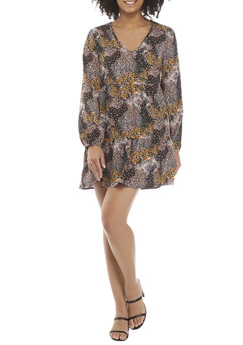 BeBop Womens Long Sleeve V-Neck Printed Woven Dress