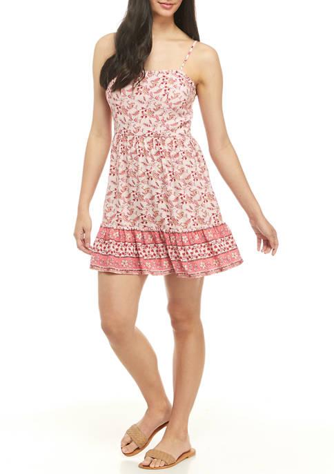 BeBop Juniors Spaghetti Strap Printed Mini Dress