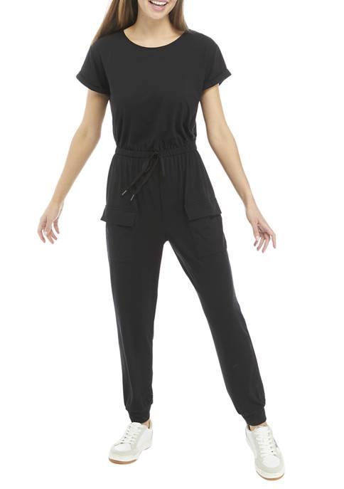 BeBop Juniors Short Sleeve Knit Pocket Jumpsuit