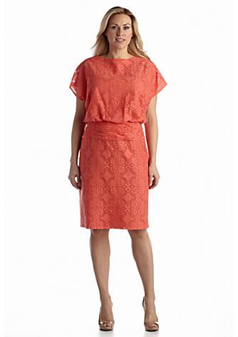Adrianna Papell Plus Size Allover Lace Blouson Dress | belk