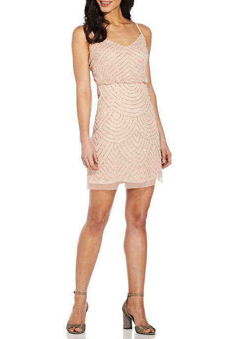 Adrianna Papell Beaded Blouson Cocktail Dress