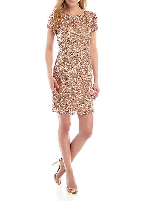 Adrianna Papell Short Sleeve Beaded Sheath Dress