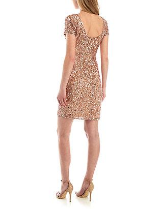 90dc6e4693f Adrianna Papell Short Sleeve Beaded Sheath Dress Adrianna Papell Short  Sleeve Beaded Sheath Dress