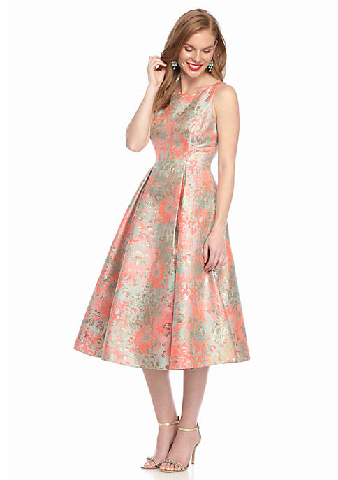 Adrianna Papell Floral Printed Jacquard Fit And Flare