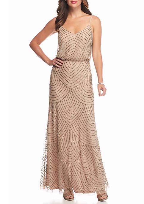 Adrianna Papell Beaded Mesh Blouson Gown | belk