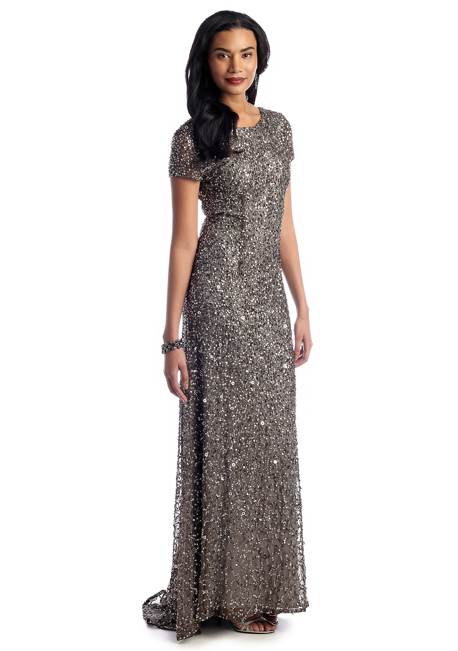 Adrianna papell cap sleeve sequin gown belk images ombrellifo Choice Image