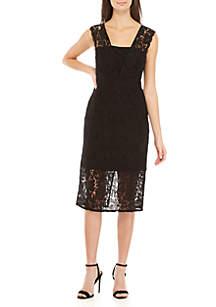 Sleeveless Midi Lace Overlay Dress