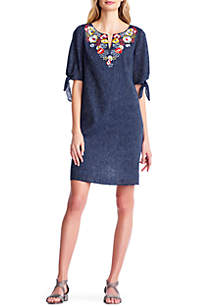 Embroidered Chest Sheath Dress