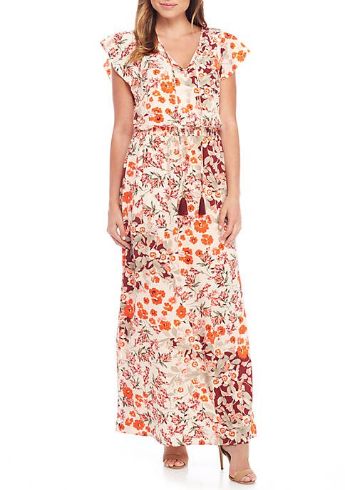 Adrianna Papell Short Sleeve Floral Long Dress