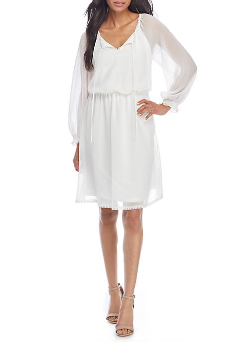 Adrianna Papell Long Puff Sleeve Solid Dress