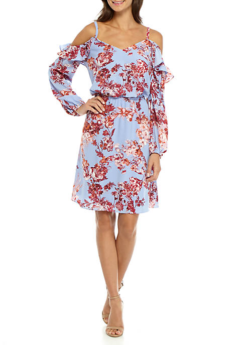 Adrianna Papell Cold Shoulder Floral Chiffon Dress