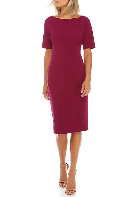 Adrianna Papell Angled Seams Knit Crepe Sheath Dress