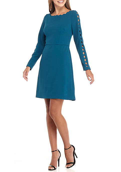 Adrianna Papell Long Sleeve Scallop Neck Dress