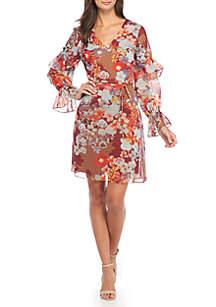 Shadow Bouquet Bell Sleeve Dress