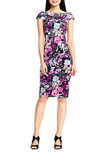 Cap Sleeve Floral Midi Sheath Dress