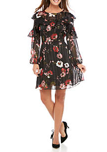 Serene Garden Lurex Ruffle Dress