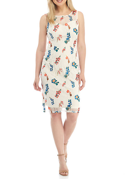 Adrianna Papell Short Sleeve Floral Chiffon Dress