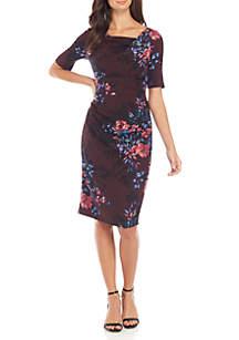 Elbow Sleeve Floral Sheath Dress
