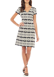 Short Sleeve V-Neck Printed A-Line Dress
