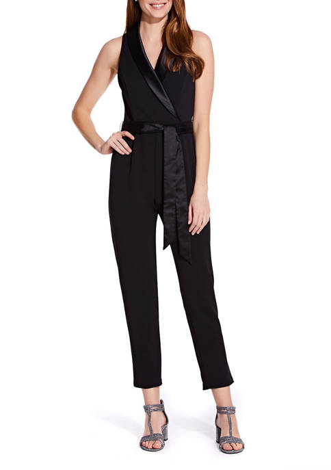 Adrianna Papell Womens Sleeveless Belted Wrap Jumpsuit