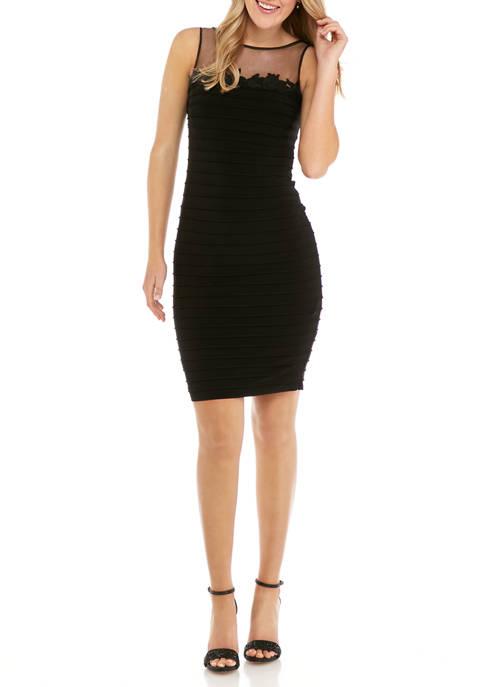 Adrianna Papell Womens Illusion Neck Bandage Dress