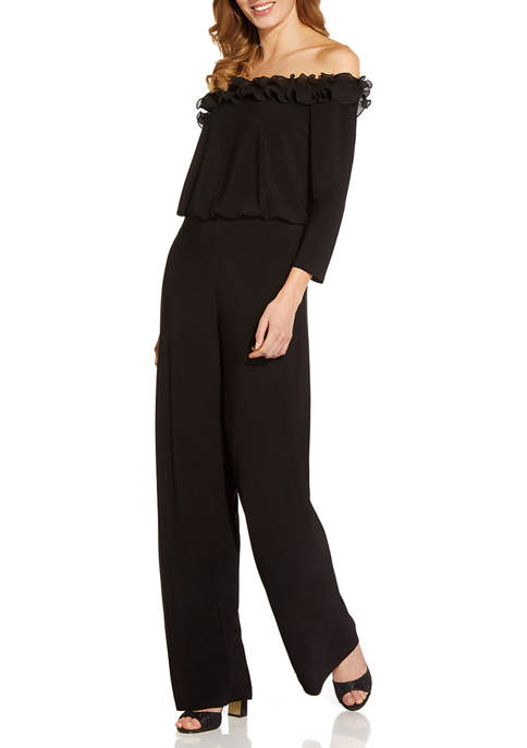 Adrianna Papell Womens Off-the-Shoulder Ruffled Jumpsuit