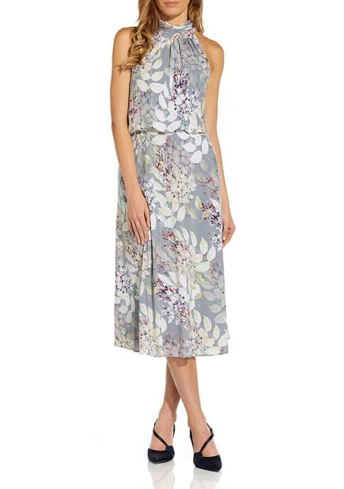 Adrianna Papell Womens Halter Neck Floral Midi Dress