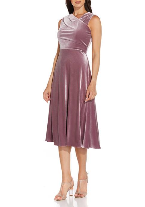 Adrianna Papell Sleeveless Asymmetrical Velvet Fit-and-Flare Dress