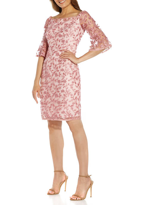 Adrianna Papell Womens Floral On The Sleeve Embroidered