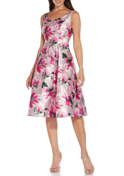 Adrianna Papell Womens Sleeveless Floral Fit-and-Flare Dress