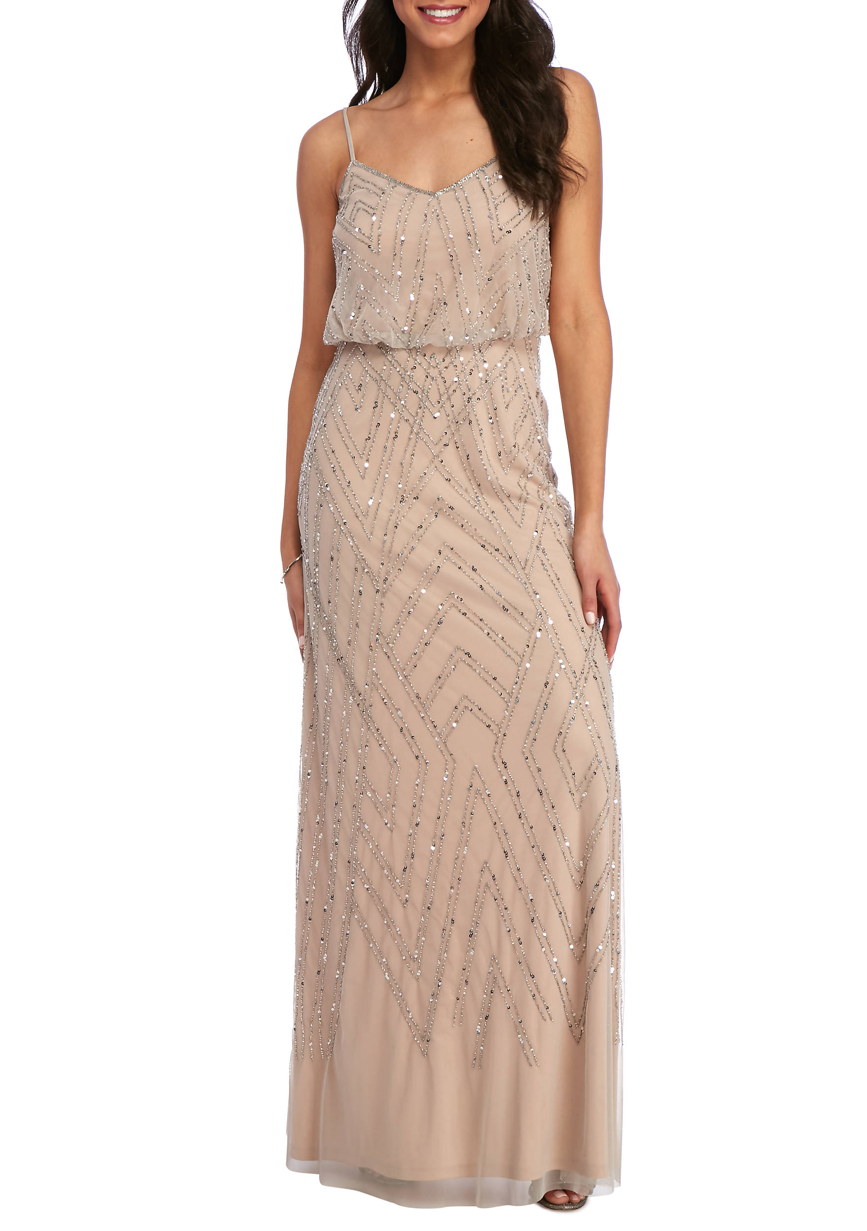 Adrianna papell sleeveless beaded blouson gown belk images ombrellifo Choice Image