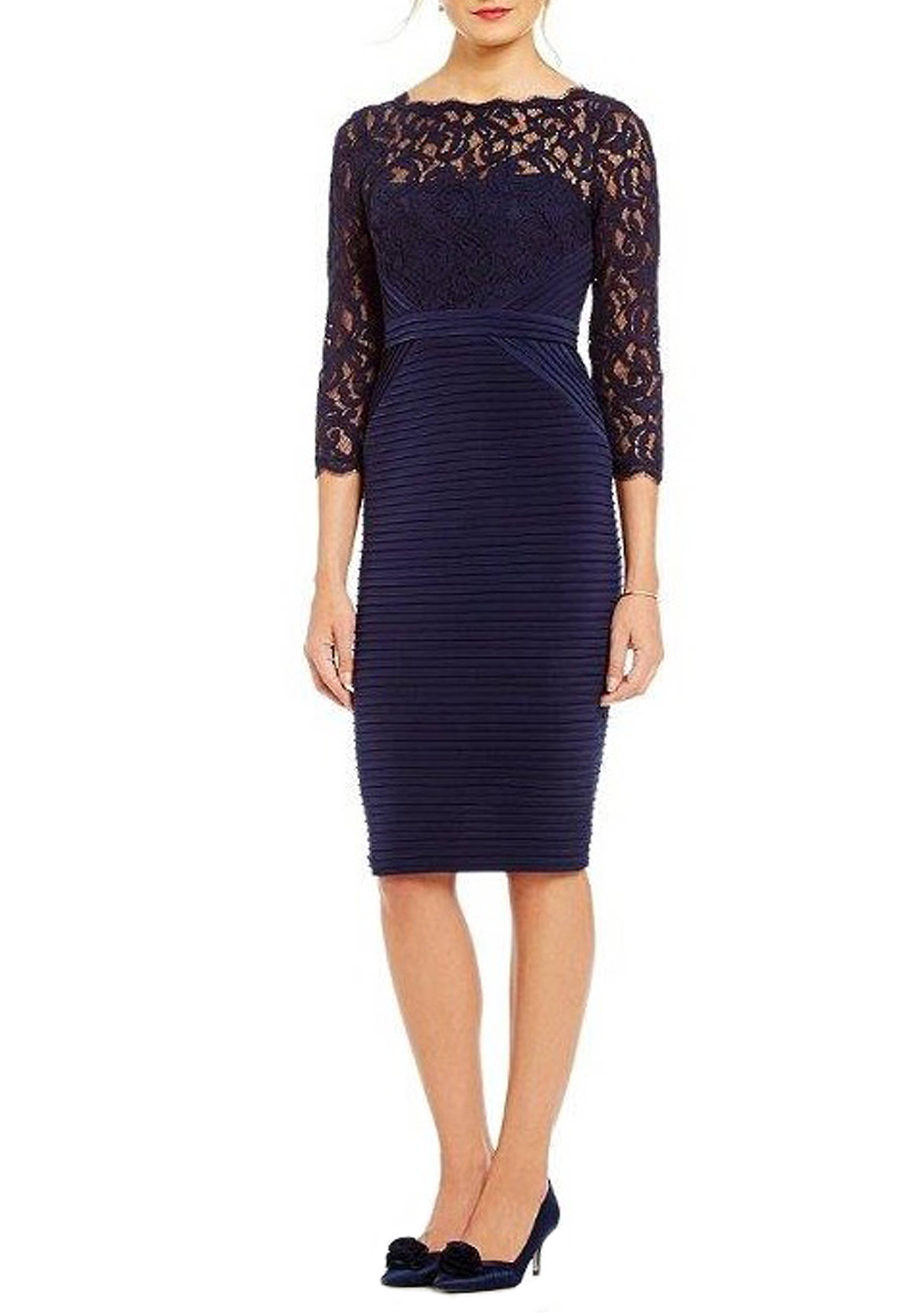 Adrianna Papell Jersey And Lace Cocktail Dress   belk