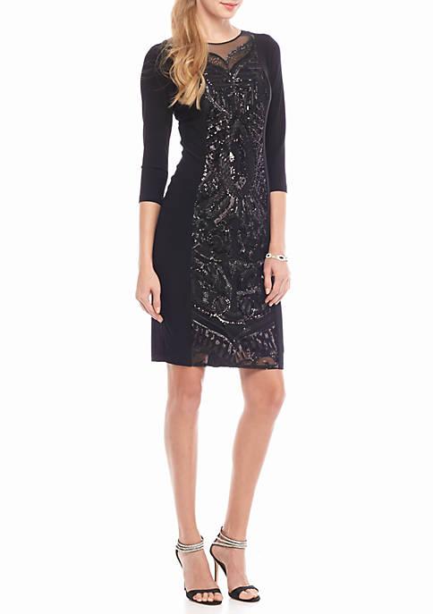 Adrianna Papell Sequin Panel Jersey Cocktail Dress   belk