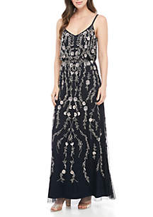 Adrianna Papell Floral Bead Bouson Gown