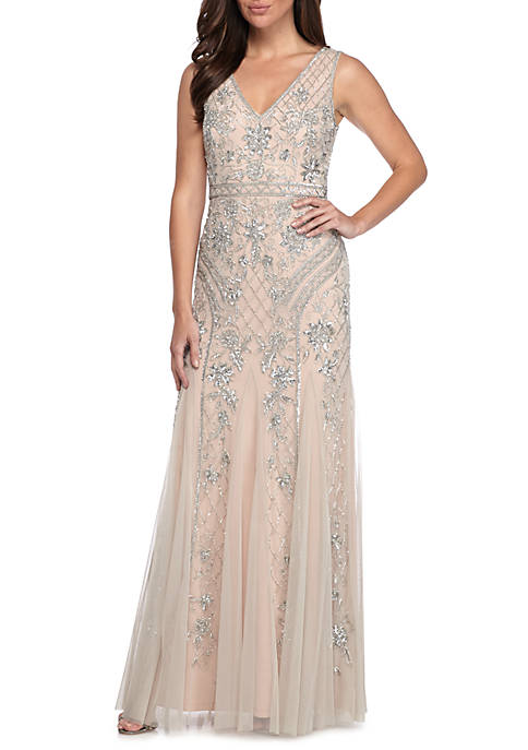 Bead and Sequin Mesh Mermaid Gown