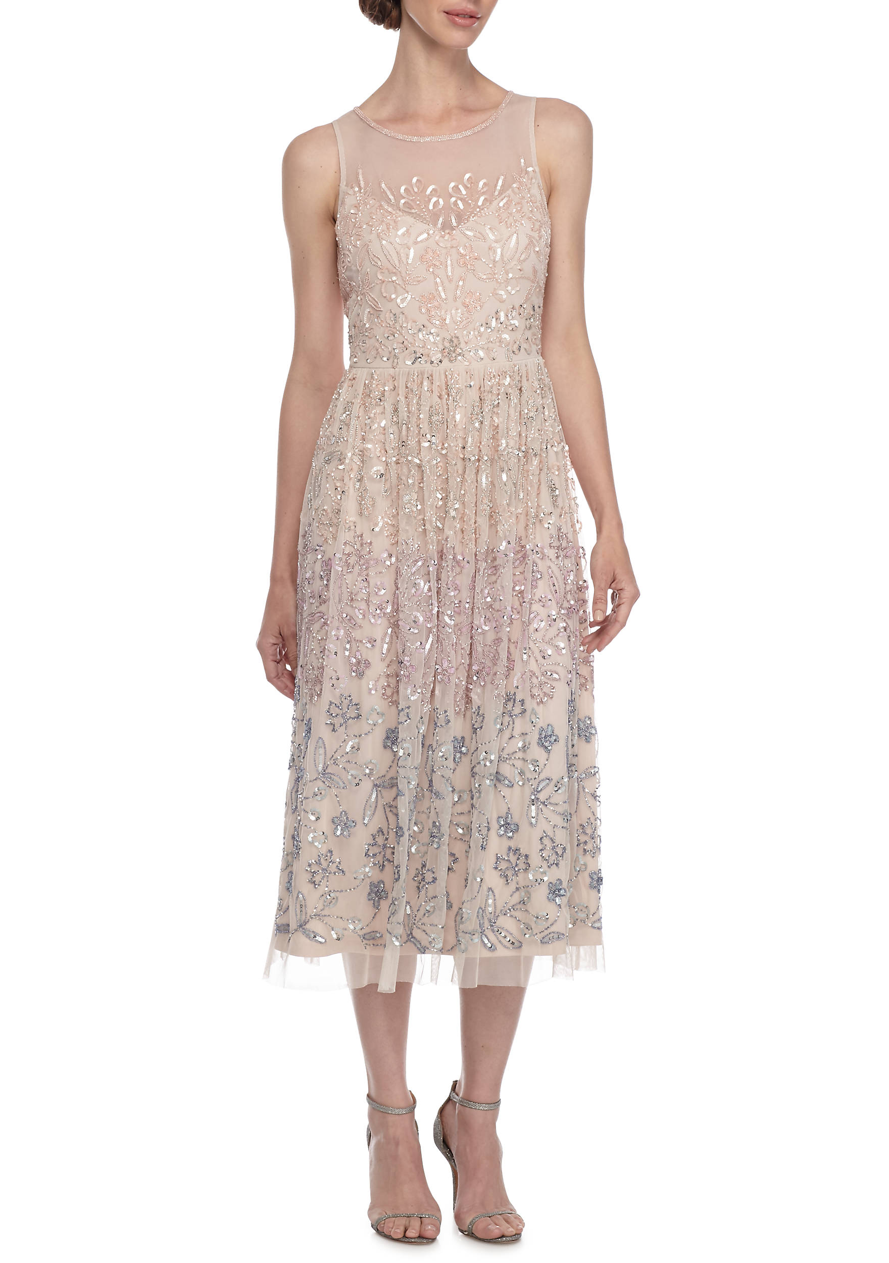 Adrianna Papell Bead and Sequin Mesh Cocktail Dress   belk