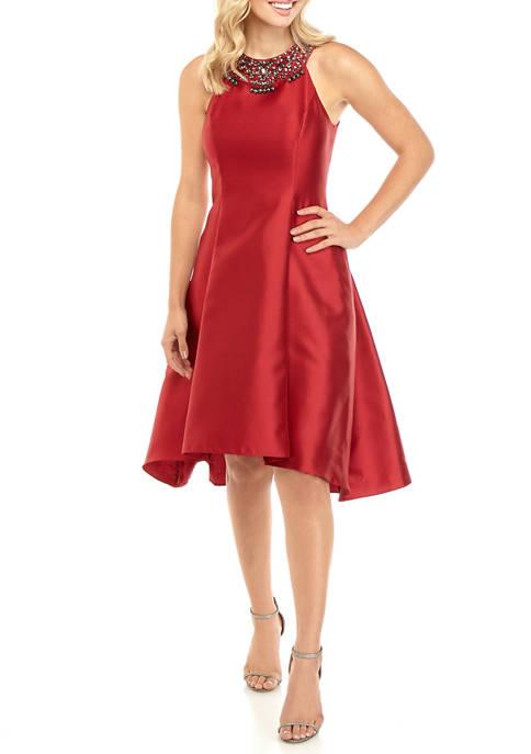 Adrianna Papell Womens Beaded Halter Dress