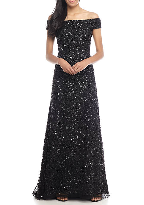 Adrianna Papell Off The Shoulder Sequin Gown Belk