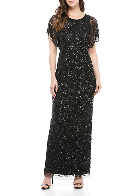 Adrianna Papell Flutter Sleeve Beaded Mesh Gown
