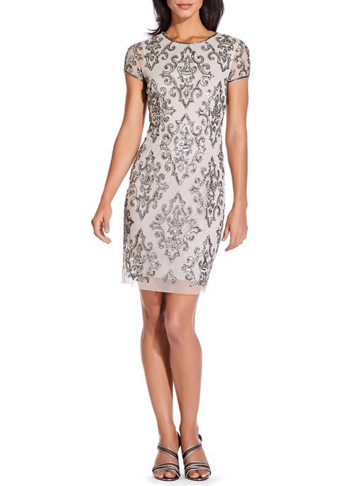Adrianna Papell Womens Short Sleeve Beaded Shift Dress