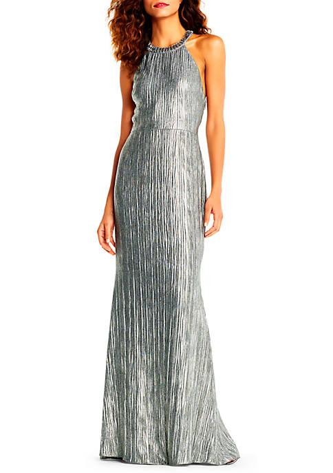 Adrianna Papell Embellished Halter Neck Gown | belk