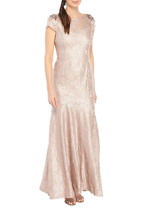 Adrianna Papell Long Metallic Lace Dress