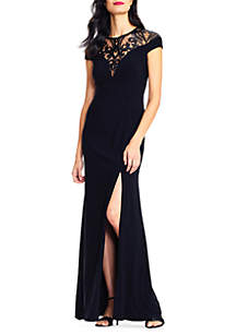 Mesh Chest High Slit Gown